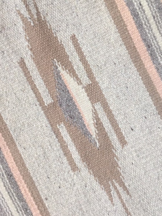 Chimayo Runner Textile Mat Wall Hanging Vintage Ortega's Weaving Shop Serape Style with Fringe Edge