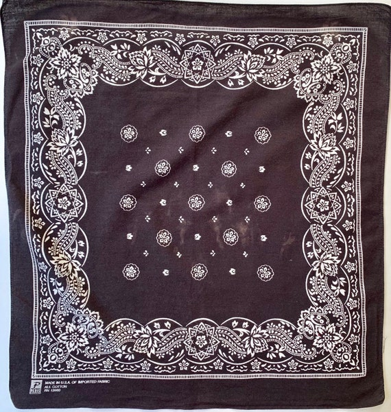 Faded Black Bandana Vintage Paris Accessories All Cotton Made in USA Very Soft Paisley Print