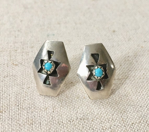 Tiny Turquoise Earrings Vintage Native American Sterling Silver Shadowbox Style Tiny Delicate Small