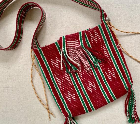 Navajo Weaving Hobo Bag Handmade Vintage Crossbody Hand Woven Wool Purse Twisted Leather Fringe Tassels Buffalo Nickel Detail Fully Lined