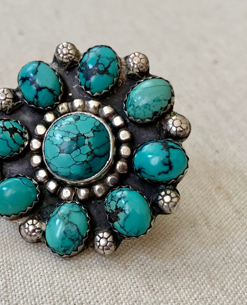 Huge Turquoise Cluster Ring Vintage Native American Sterling Silver Big Round Radial Flower Artist Signed RZ Size 6.5