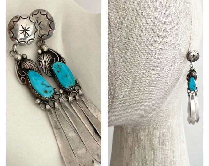 """Long Turquoise Dangle Earrings Vintage Native American Navajo Sterling Silver Aged Patina 3.25"""" Drop"""