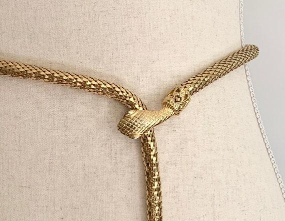 Gold Mesh Snake Belt Vintage 70s 80s Glam Snake Head Clasp Gold Tone Metal Womens Belts Adjustable XS S M