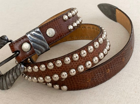 Studded Sterling Overlay Belt Vintage Wage Western Belts Silver Studs Brown Reptile Embossed Leather Made in USA