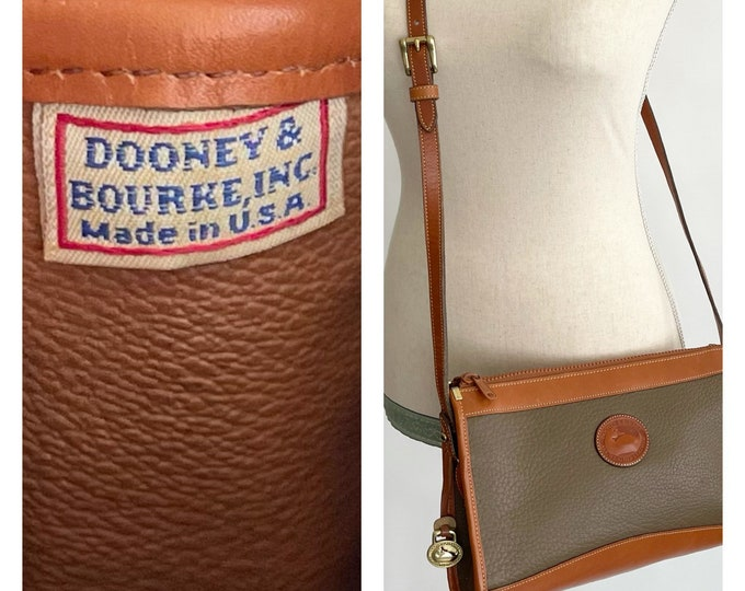 Dooney & Bourke Leather Bag Purse Made in USA Vintage Two Tone Tan Olive Leather Adjustable Strap Solid Brass Buckle Minimalist
