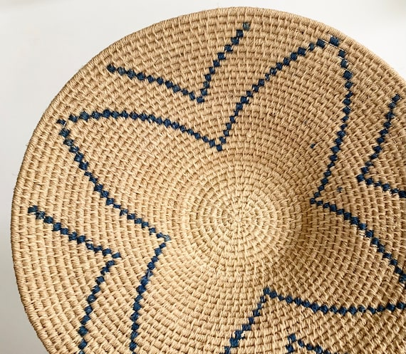 Southwest Coil Basket Shallow Bowl Vintage Handwoven Beige Blue Starburst Weave Boho Home Decor