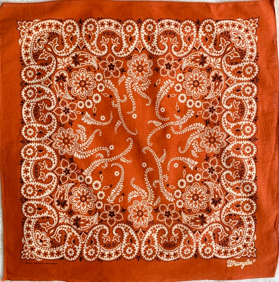 Wrangler Brick Red Bandana Vintage 60s 70s Western Paisley Print Fast Color RN 16429 Soft All Cotton Cowboy Scarf