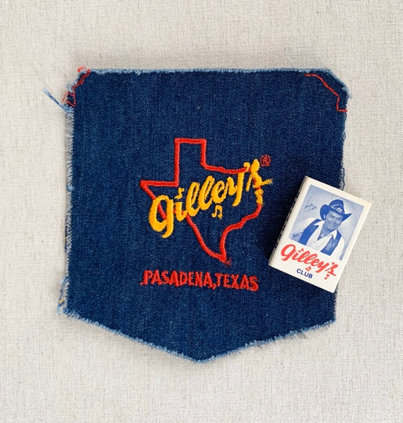 Gilley's Texas Embroidered Patch Pocket Vintage Gilley's Nightclub Pasadena TX Memorabilia Denim Jean Pocket