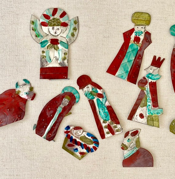 Tin Nativity Set Folk Art Vintage Handmade Hand Painted in Matching Box Whimsical Holiday Decor Animal Figurines