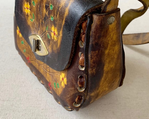 70s Tooled Leather Purse Small Girl Child Size Stitched Details Hand Painted Flowers