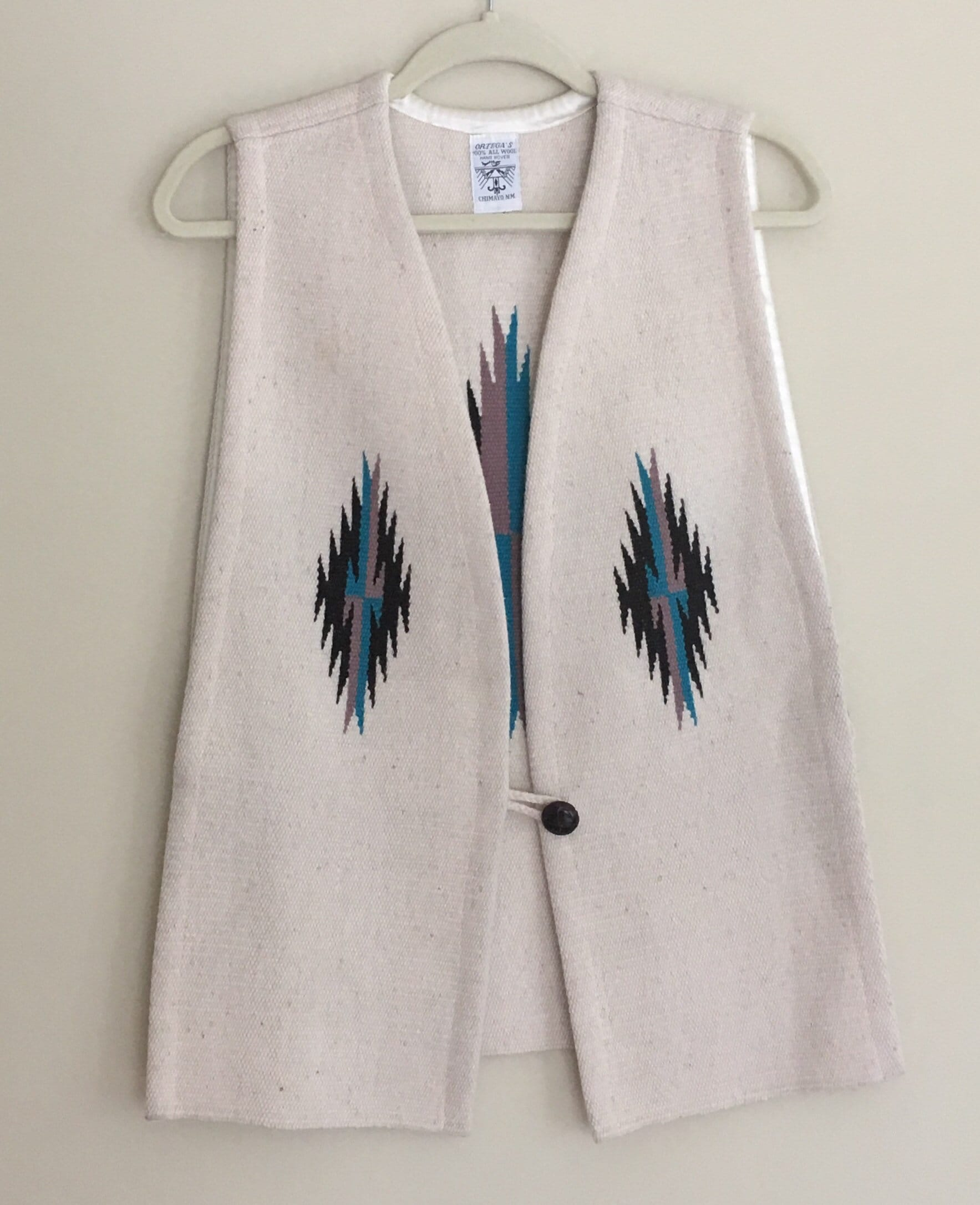 Woven S Hand Sweater Vest Chimayo Turquoise Cream Mexico Vintage Southwest New Size Ortega's Wool Coat 9E2DHI