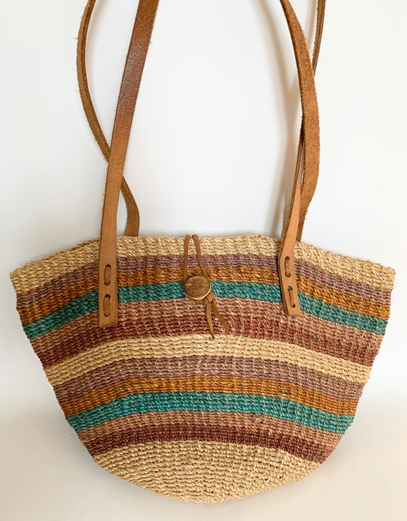 Vintage Sisal Straw Bag Purse Leather Straps Beige Brown Turquoise Striped Beach Bag Tote Excellent Condition Clean Interior