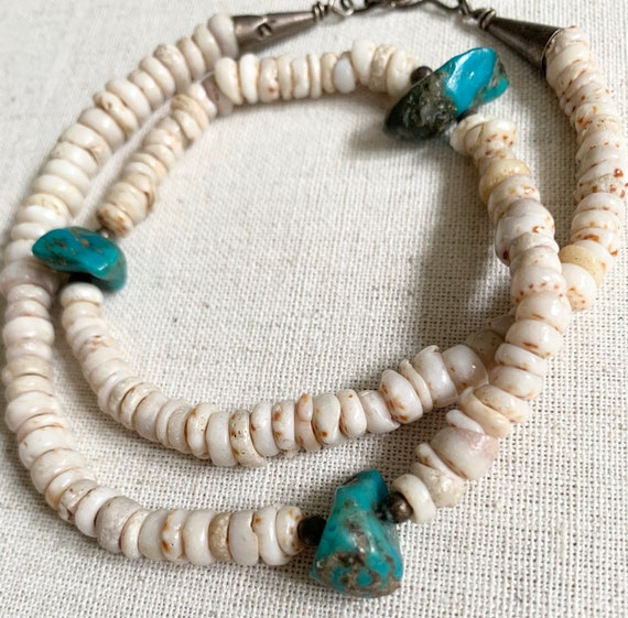 Old Heishi Turquoise Necklace Choker Vintage Native American Sterling Silver Cone Clasp Shell Turquoise Nugget Beads