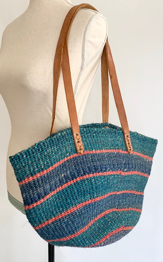 80s Sisal Bag Leather Straps Vintage 80s Made in Kenya Woven Blue Turquoise Pink Sisal Market Bag