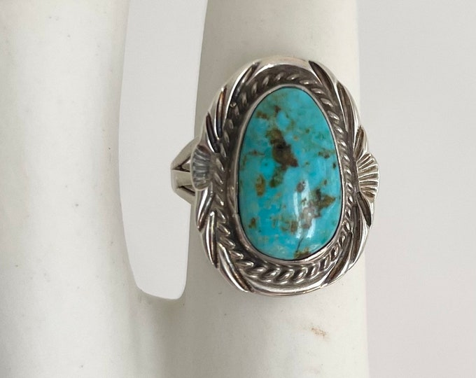 Vintage Navajo Turquoise Ring Vintage Native American Handmade Sterling Silver Triple Shank Band Size 8.75