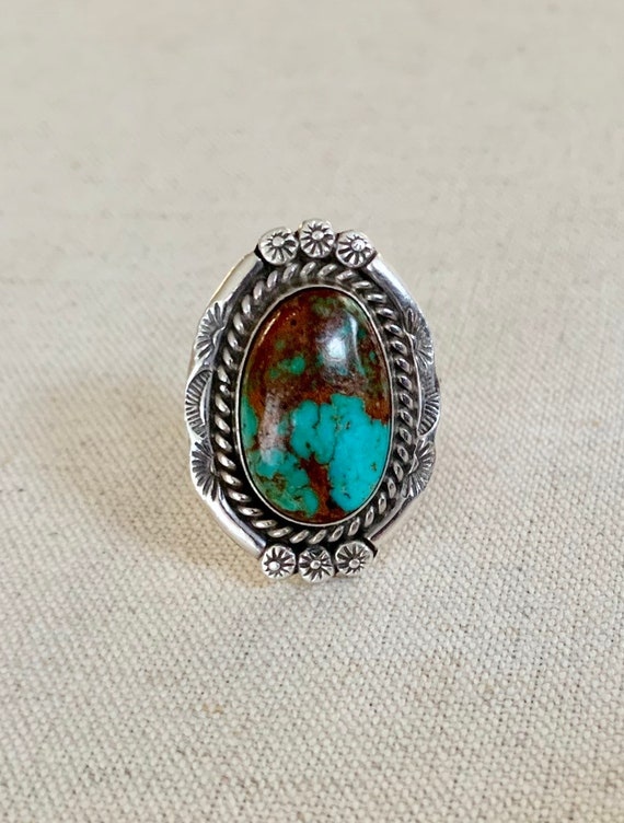 Vintage Navajo Turquoise Ring Vintage Native American Artist Signed M Sterling Silver Rope Floral Border Oval Statement Ring Size 8.75