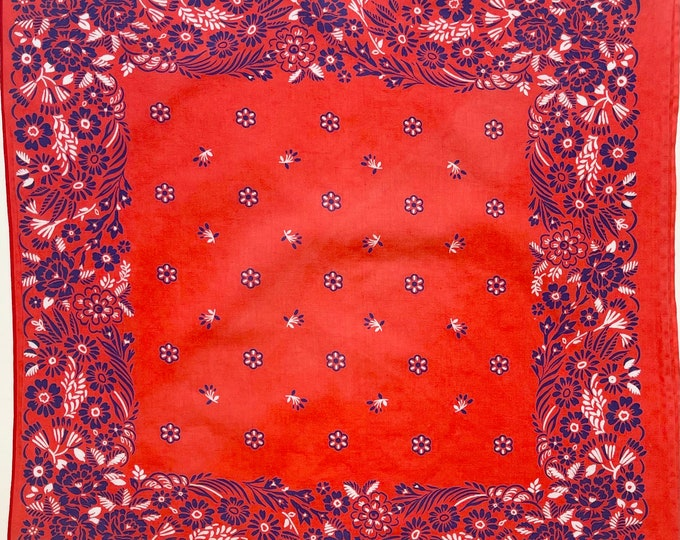 Rare Tomato Red Bandana Rare Colorway Combination Multi Color Blue White Floral Print Vintage 70s Fast Color