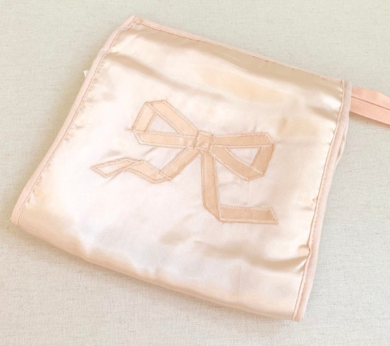 Pink Hosiery Lingerie Bag Pouch Vintage 50s Travel Luggage Ballet Pink Satin Something Old Wedding Bridal Shower Gift