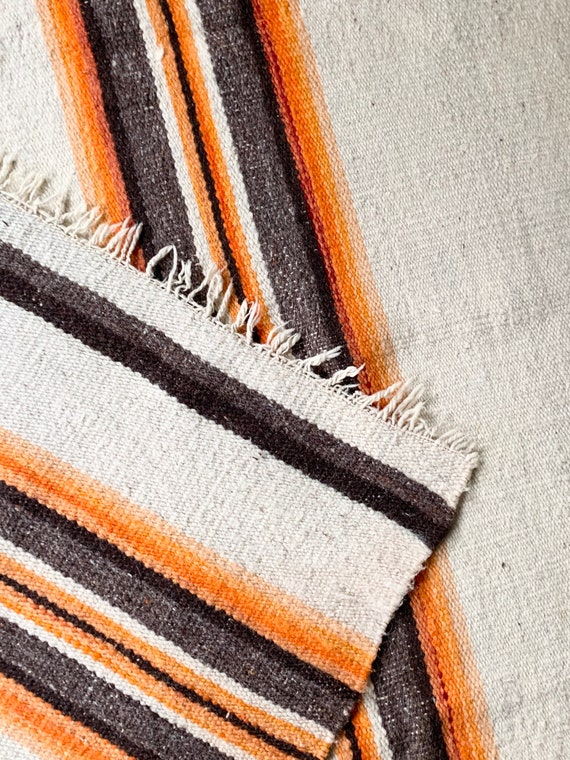 Antique Navajo Blanket Throw Rug Vintage 40s Hand Woven Natural White Wool with Fringe Southwest Native American