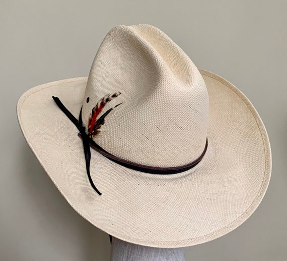 Resistol Shantung Cowboy Hat Vintage Bradford Western by Resistol Cream Beige Genuine Shantung Feather Detail Mens Women's Hats