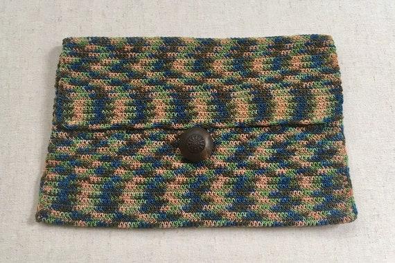 Knit Ikat Clutch Purse Vintage Brown Beige Blue Brown Italian Style Weave Wood Button Closure