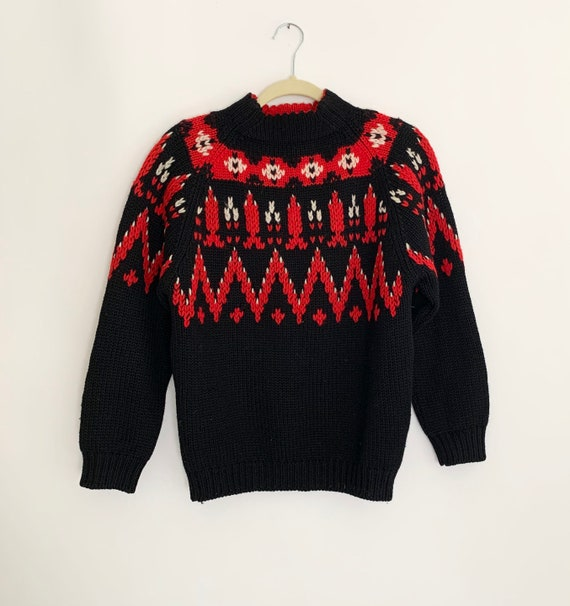 Wool Fair Isle Sweater Vintage Knitwear 100% Virgin Wool Black Red White Knit Mock Neck Made in Crowned Colony of Hong Kong Womens Size S