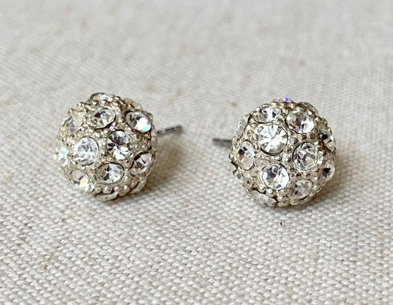 Tiny Crystal Ball Earrings Clear Diamante Silver Tone Studs Cluster Vintage 50s Wedding Bridal Evening Cocktail Dome Pierced
