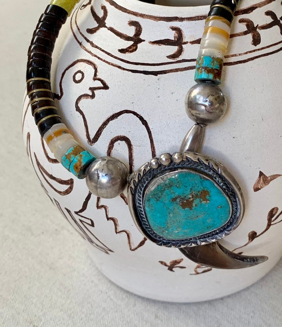 Big Navajo Turquoise Necklace Vintage Southwest Native American Rolled Beads Bead Beaded