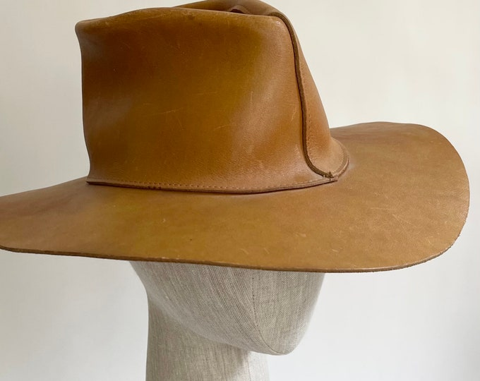 Henschel Leather Cowboy Hat Vintage Western Worn Distressed Tan Brown Patina Leather Goods Made in Mexico XS Women's Large Kids Child