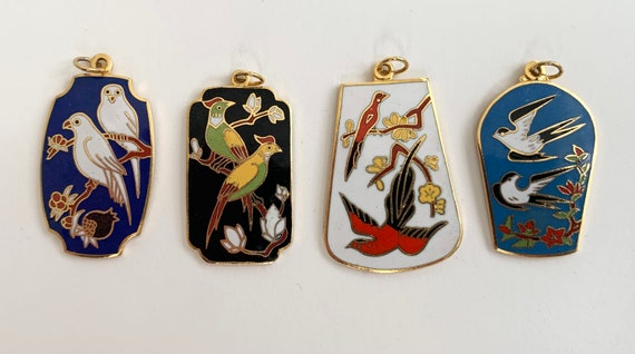 Vintage Chinese Enamel Pendants Charms Vintage Colorful Bird Floral Flower Plant Nature Enamel Gold Tone Metal