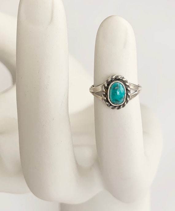 Tiny Vintage Turquoise Ring Native American Navajo Sterling Oval Cabochon Pinkie Ring Size 4.75