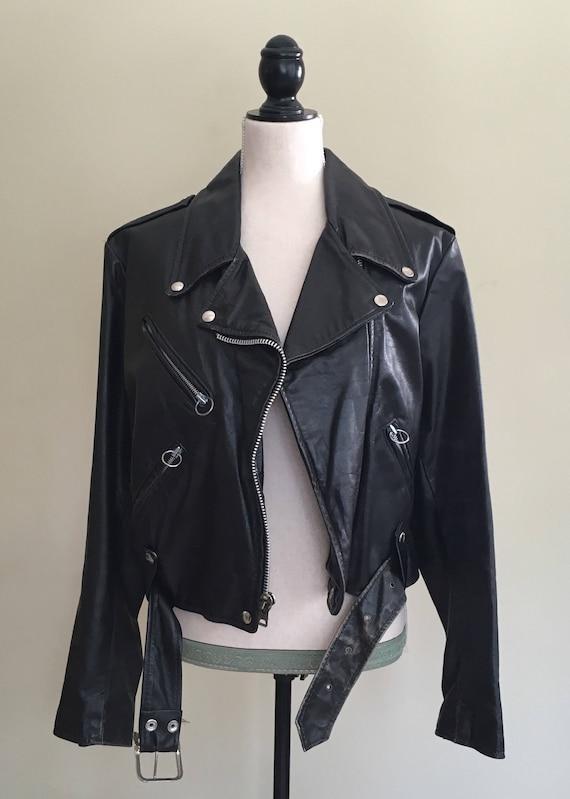 Black Leather Biker Jacket Motorcycle Moto Coat Vintage 80's Brooks Leather Fringe Detail Zip Front Mens 38 M
