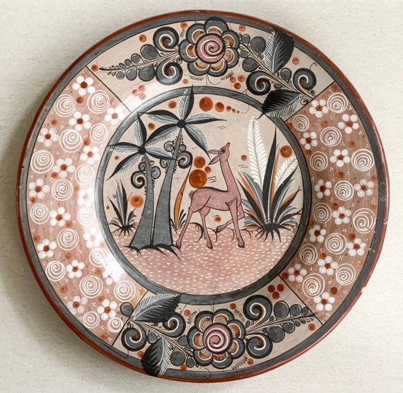 "Tonala Mexican Pottery Plate Platter Vintage Ceramic Clay Folk Art Large 15.75"" Diameter Deer Animal Floral Home Table Top Wall Hanging"