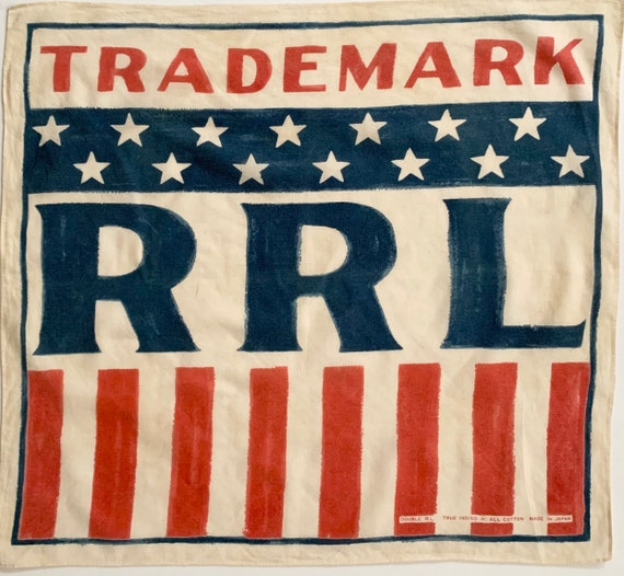 Double RL Bandana Indigo Blue Red Natural White RRL Trademark Logo Stars and Stripes Print Soft Vintage All Cotton Made in Japan