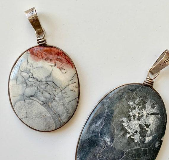 Agate Pendant Sterling Silver Handmade Vintage Big Oval Stone Crystal Necklace Pendant Healing Rocks Stone