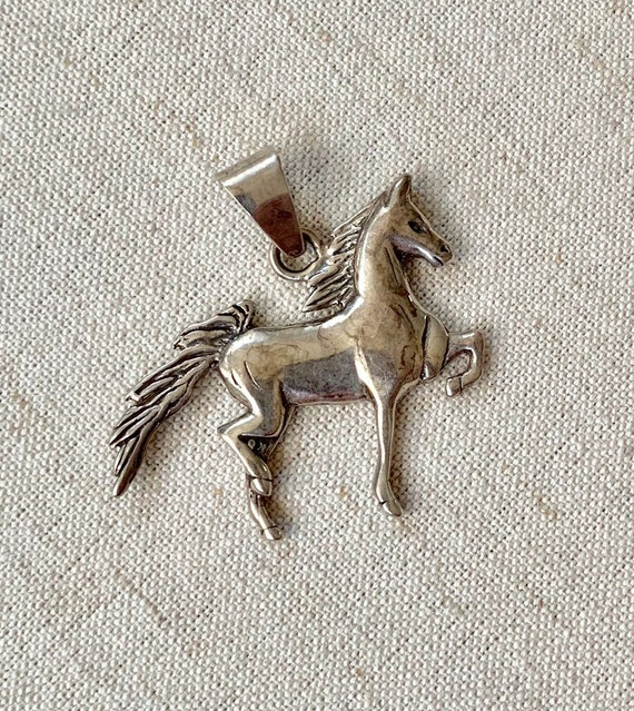Sterling Silver Horse Pendant Necklace Fred Harvey Era Sterling Silver Native American Hand Stamped Sterling