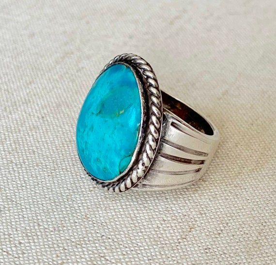 Mens Navajo Turquoise Ring Vintage Native American Sterling Silver Mens Jewelry Twisted Rope Border Size 11