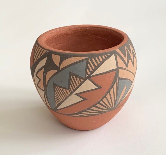 Native American Jemez Pottery Pot Bowl Artist Signed Chinana Vintage Red Clay Beige Blue Dark Taupe Southwest Western Boho Home Decor