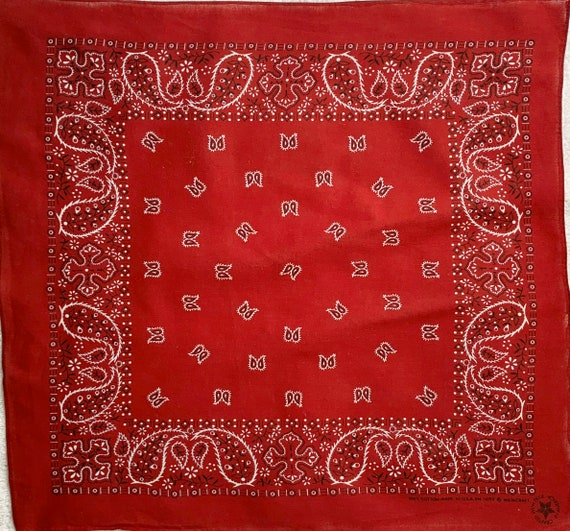 Dark Red Bandana Vintage 80s 90's Wamcraft All Cotton Made in USA Weave Red White Black Paisley Print