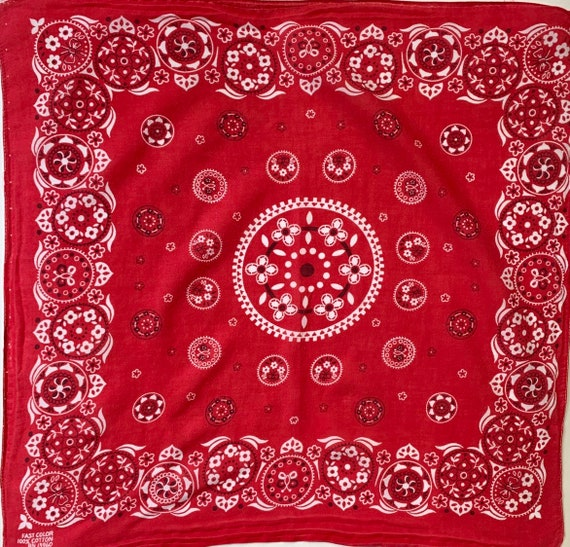 Faded Red Cotton Bandana Vintage 50s 60s Lightweight All Cotton Paisley Cowboy Scarf Vintage RN 13960