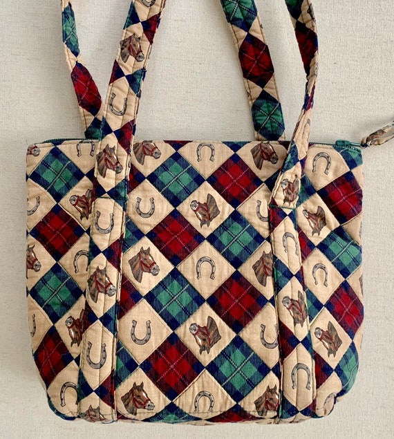 Equestrian Knitting Sewing Bag Tote Purse Vintage Homemade Quilted Homespun Horse Horseshoe Tartan Plaid Graphic Print