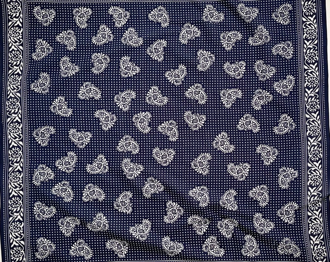 XL Indigo Blue Bandana Vintage 60s Lightweight All Cotton Large Size Navy Blue White Paisley Polka Dot Print