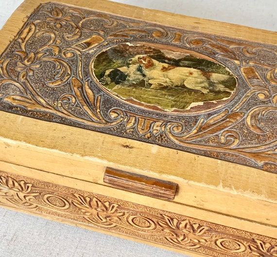 Charming Rustic Wooden Box Country Hunting Dogs Floral Carved Tooled Wood Lid Interior Mirror Hinge Opening