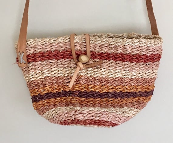 Woven Sisal Bag Purse Leather Straps Vintage Artisan Made Desert Tones Natural White Brown Summer Beach Bag Straw Jute