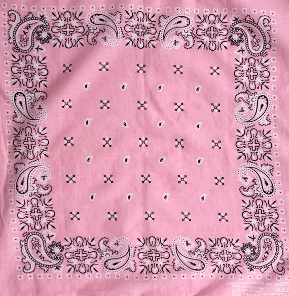 80s Light Pink Bandana Vintage Paris Accessories Colorfast 100% Cotton Made in USA Black White Pink Paisley