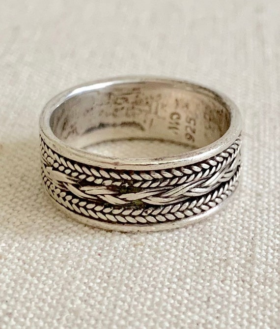 Twisted Rope Sterling Band Ring Vintage Native American Navajo Sterling Silver Simple Minimalist Stackable Rings Signed CW Size 7