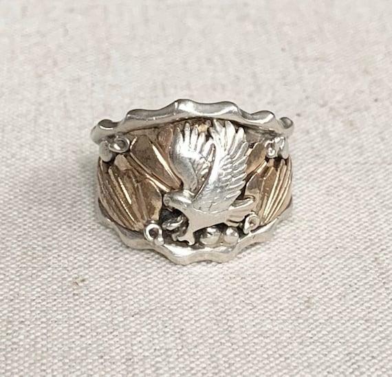 Mens Eagle Biker Ring Vintage Sterling Silver Artist Signed JB Bald Eagle Gold Brass Tone Detail Size 9.75