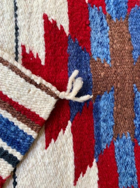 Southwest Wool Saddle Blanket Rug Hand Woven Vintage Textile Wall Hanging Vintage Serape Style