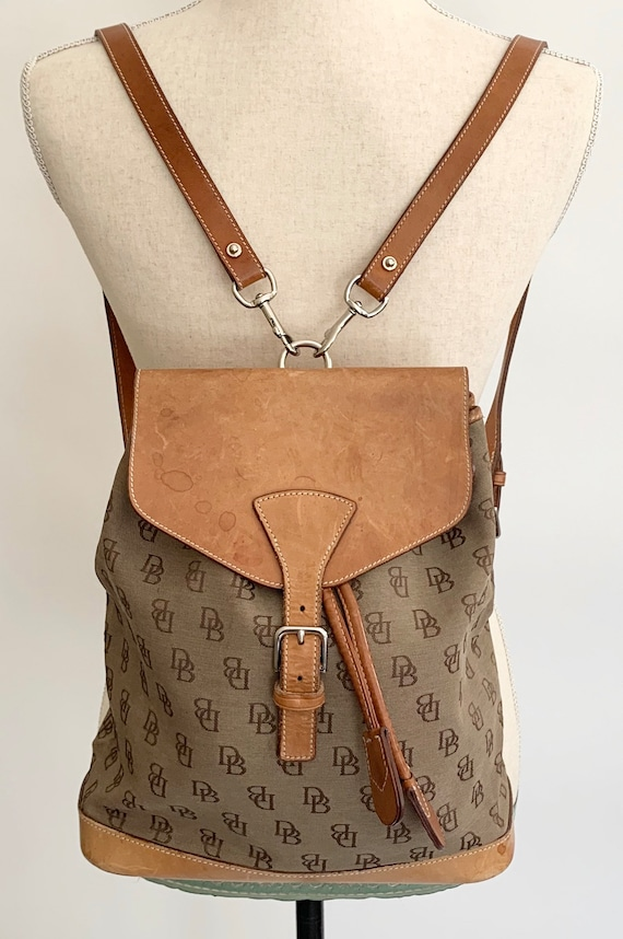 Dooney and Bourke Backpack Bag Vintage Designer Bags Tan Leather Flap Straps and Base DB Logo Fabric Adjustable Straps