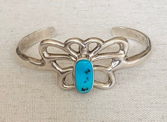 Turquoise Cuff Caster Sterling Silver Bracelet Vintage Native American Artist Signed LD Butterfly Design